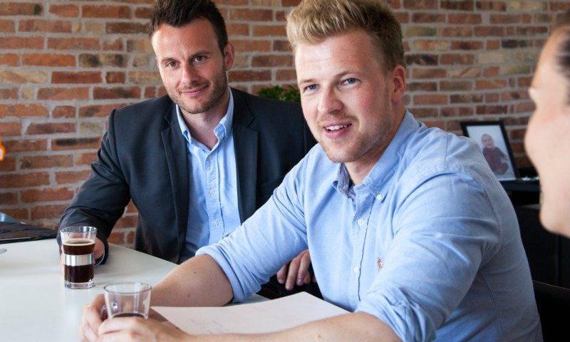 Rasmus Lund Christensen (til venstre) og Lasse Frederik Pedersen har fået en blændende start i Aalborg med Din Mægler Foto: Mette Heiring