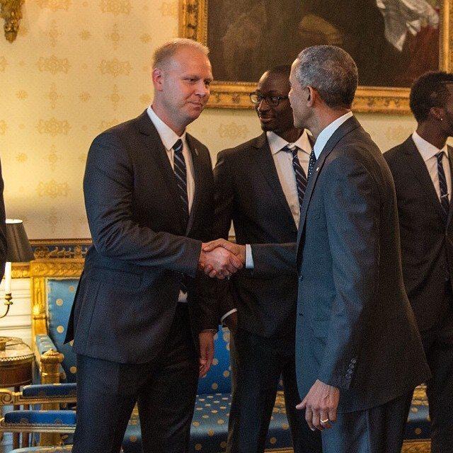 Efter mesterskabet med Kansas City mødte Jimmy Nielsen USAs præsident Barack Obama Foto: Jannie Kjær Nielsen