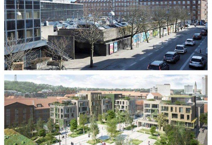 Budolfi Plads som det ser ud i dag og så om tre år.  Fotomontage