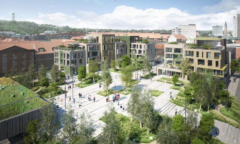 Fremtidens Budolfi Plads. Med forbehold for justeringer. Kilde: Kjaer & Richter