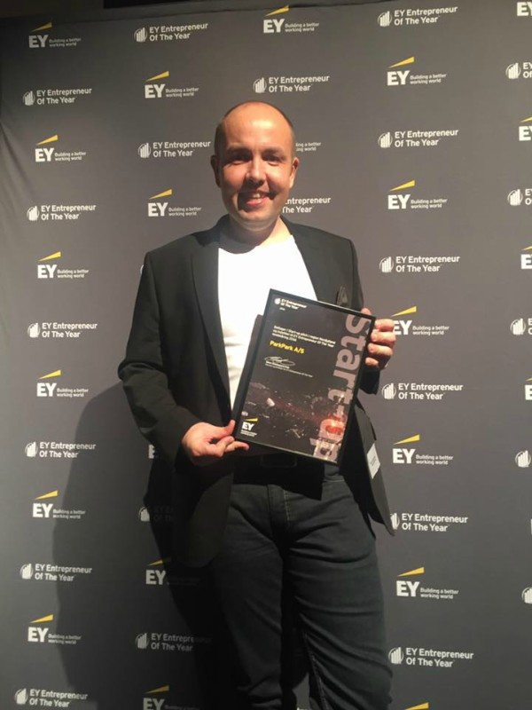 Bo Abrahamsen til Entrepreneur Of The Year prisuddelingen. Foto: ParkParks Facebook-side
