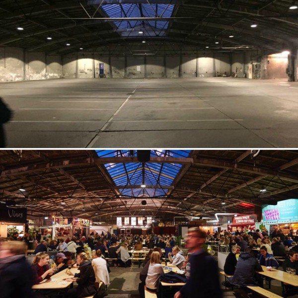 Et før-og-efter billede af hallen i Aarhus, hvor Street Food markedet rykkede ind