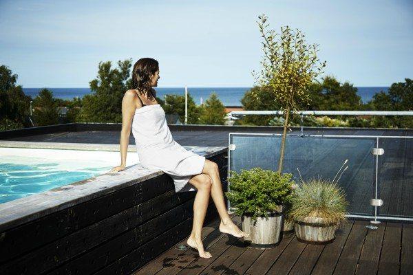 Hotel Viking har en stor tagterrasse med lækre spa-muligheder og en formidabel udsigt over Sæby og Kattegat