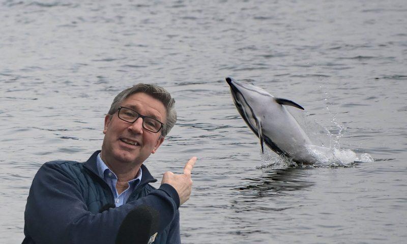 Fotomontage af MigogAalborg   Billedet af delfin: Steen Petersen  Billedet af Mogens Jørgensen: Pressefoto AKKC