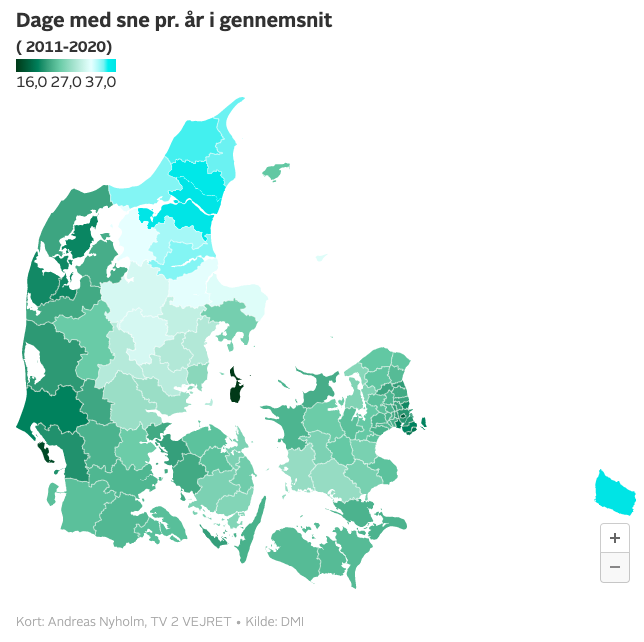 Aalborg nummer to på listen: Her falder der mest sne i Danmark