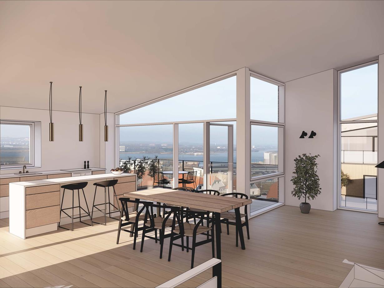 Fire altaner og udsigt til Fjorden: Vild lejlighed ryger op blandt Aalborgs dyreste