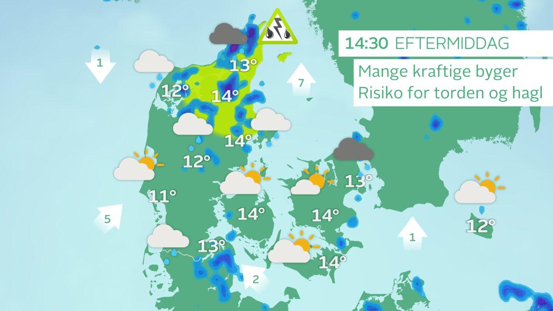 Kan blive rigtig vådt: Varsler om skybrud, torden og hagl over Nordjylland