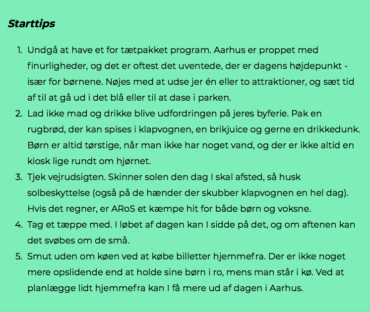 Pak bil og børn: Byferie i Aarhus for børnefamilien