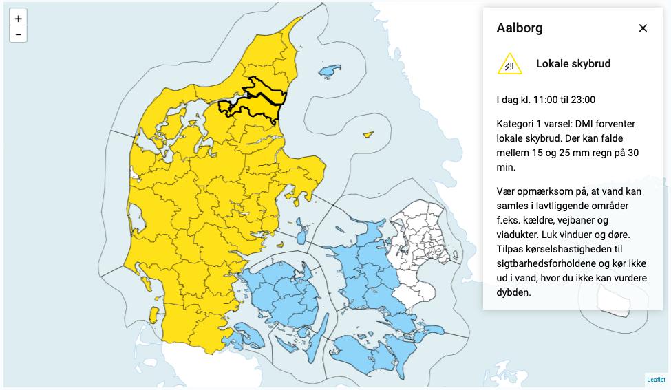DMI-varsel: Forventer lokale skybrud i Aalborg i dag